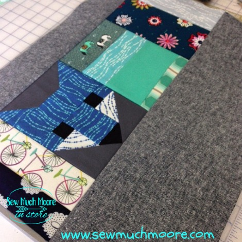 Fancy Fox Quilt block incorporated into a tote bag side panel