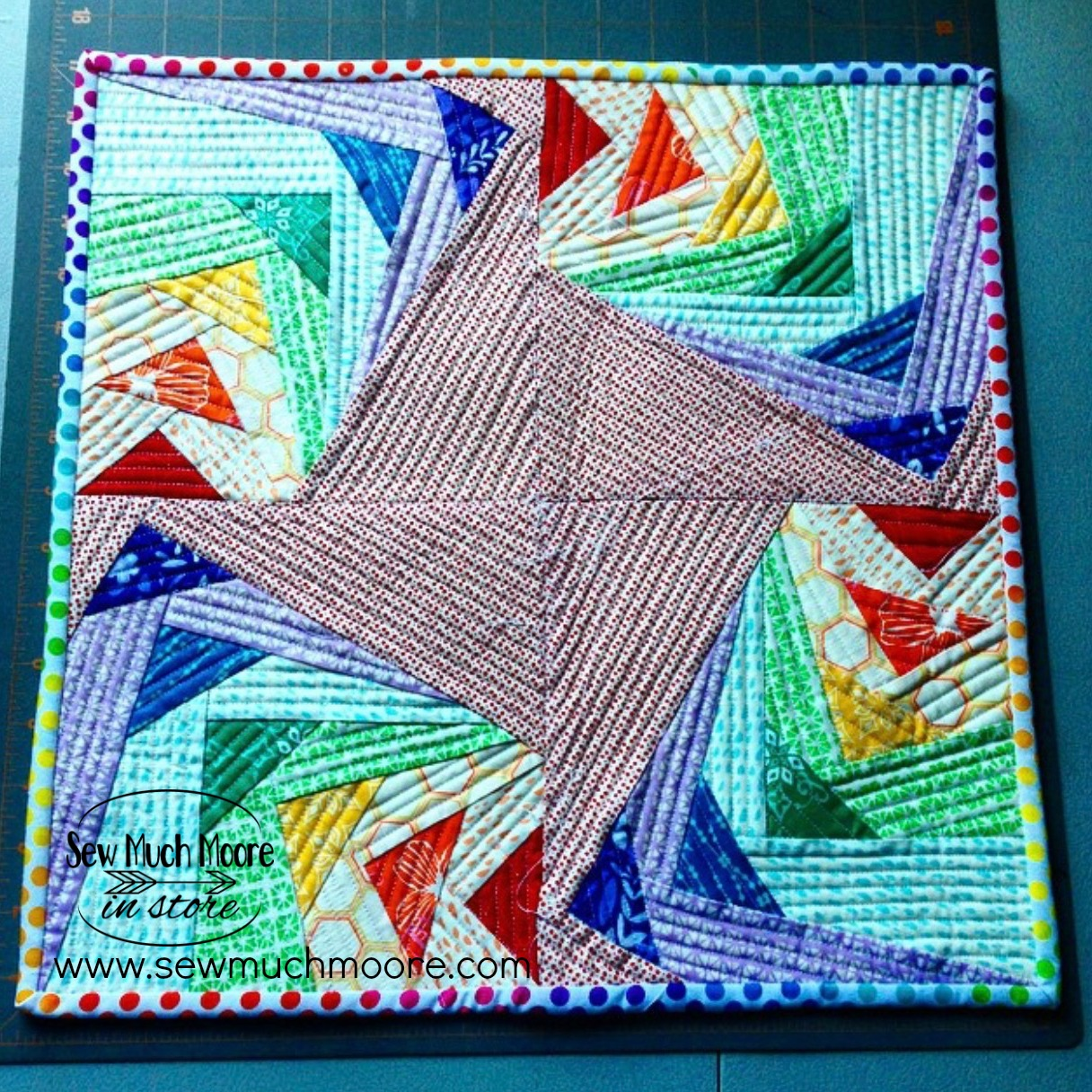 Completed Goosed up Rainbow Mini Quilt