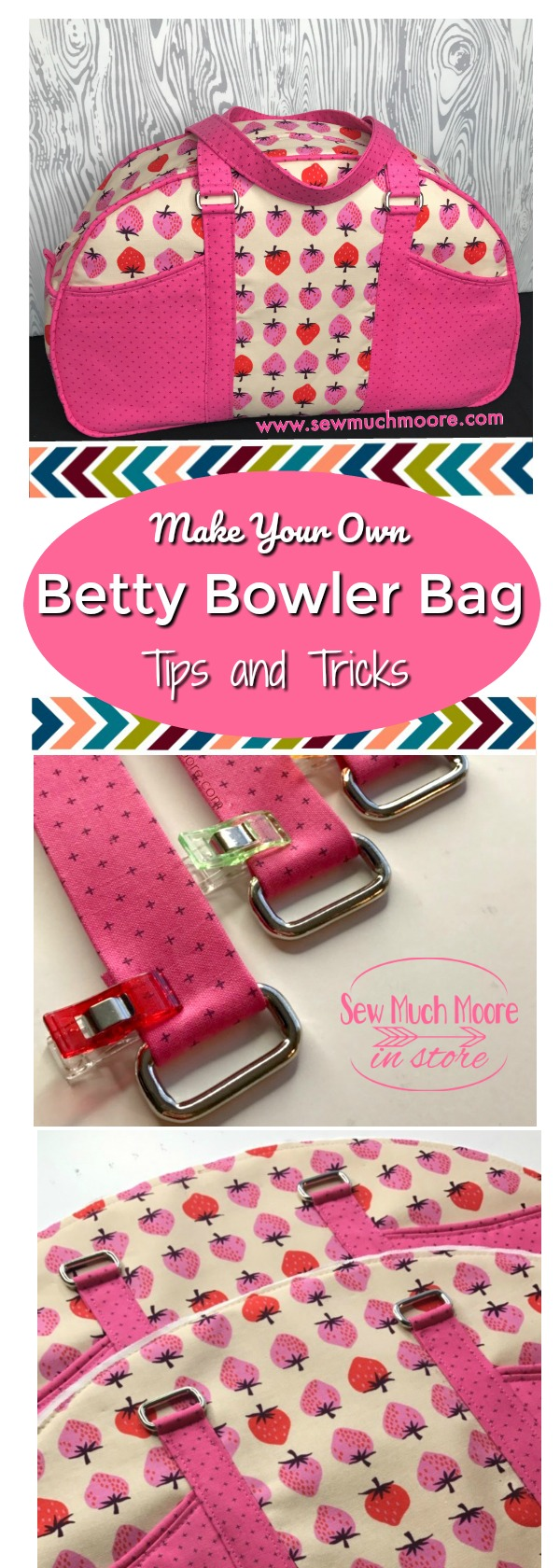 Check out these tips and tricks to make your own Betty Bowler Bag by Swoon Patterns. Video tutorial and pattern info #sewing #bagmaking #bettybowlerbag #sewingtutorials #sewing #tutorials #luggage