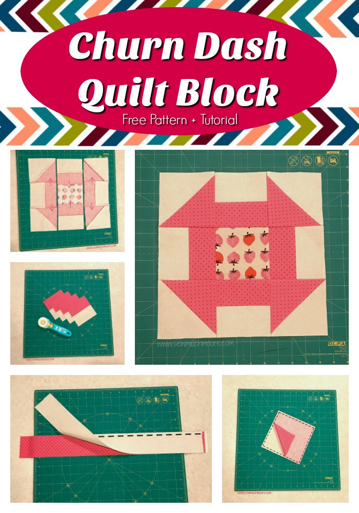 Churn Dash Quilt Block - Pinterest Pin 2