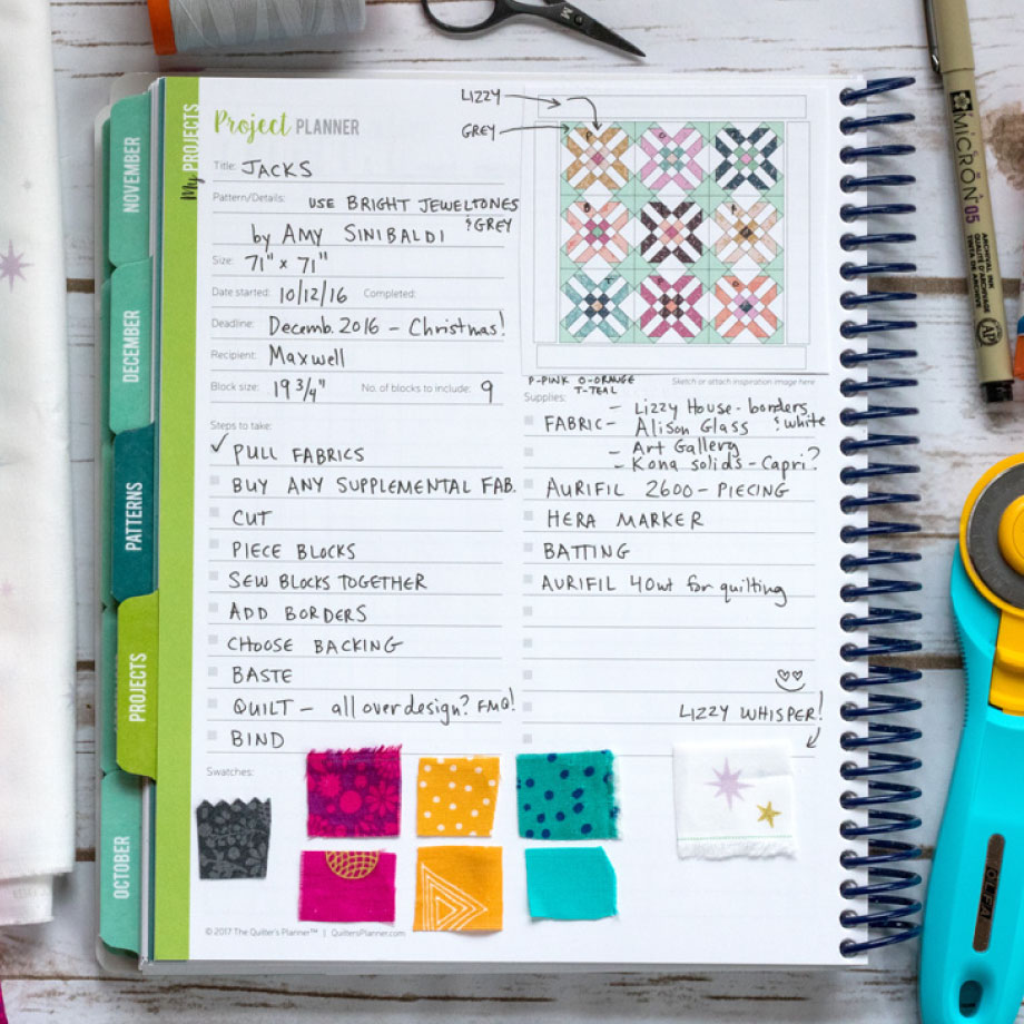 2018 Quilter's Planner - Project Section