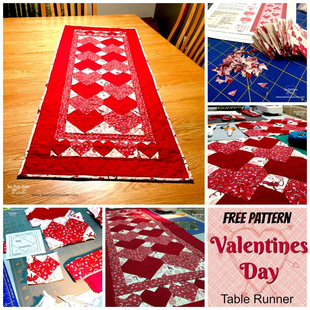 Valentines Day Table Runner Collage