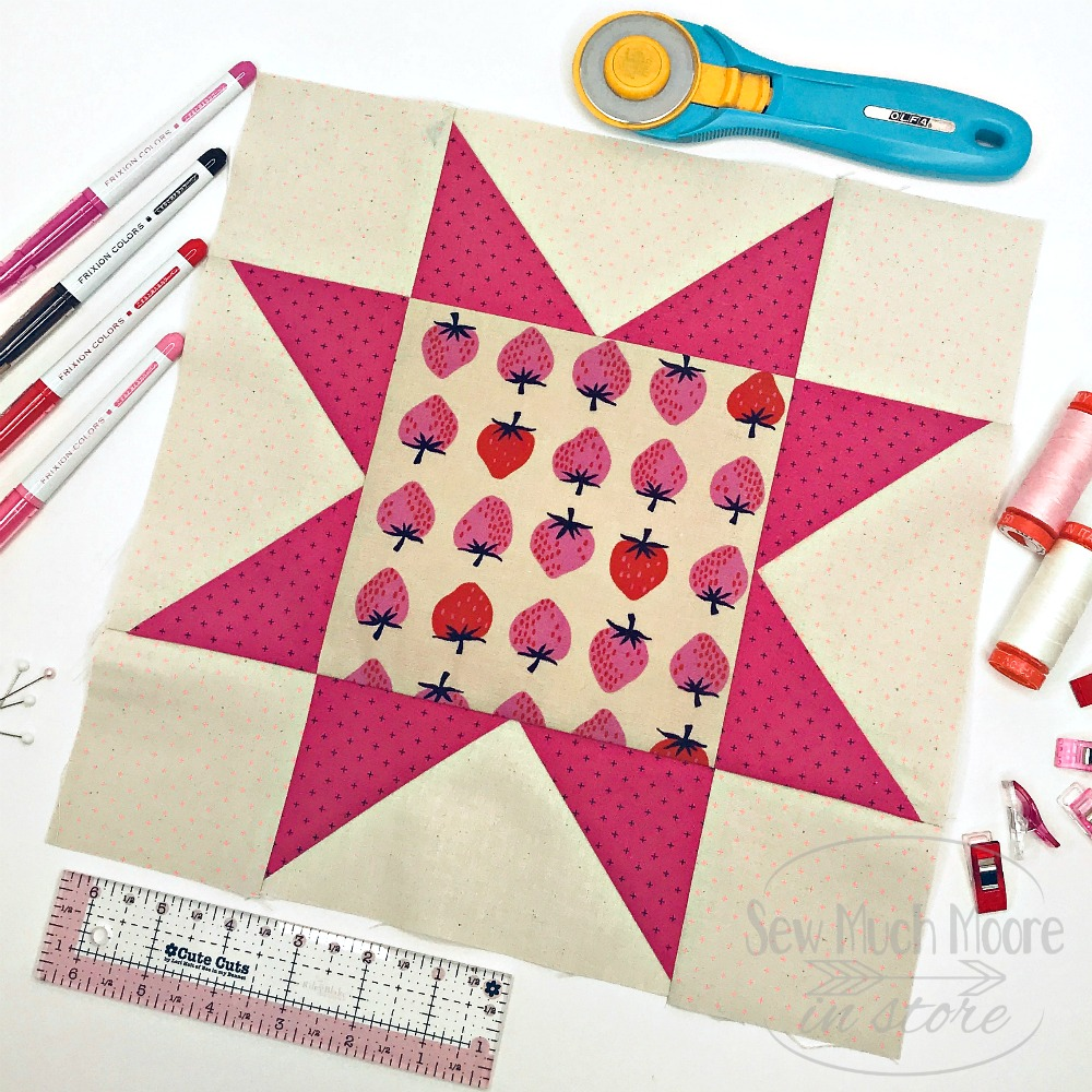 Eight Point Star Quilt Block - Styled 1