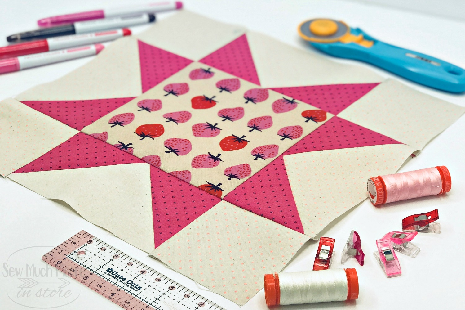 Eight Point Star Quilt Block - Styled 3