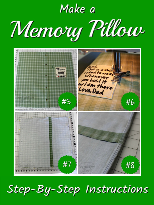 Let me show you how to make a Memory Pillow from a Men's Shirt! Follow these step by step instructions and turn that shirt into a Cherished Gift! #MemoryPillow #ShirtPillow #CustomPatch #EmbroideryPatch #Gift #Sewing #DIY LearnToMake #Easy #Project #SewMuchMoore #SewMuchMooreInStore