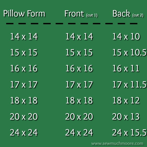 Pillow Form Chart