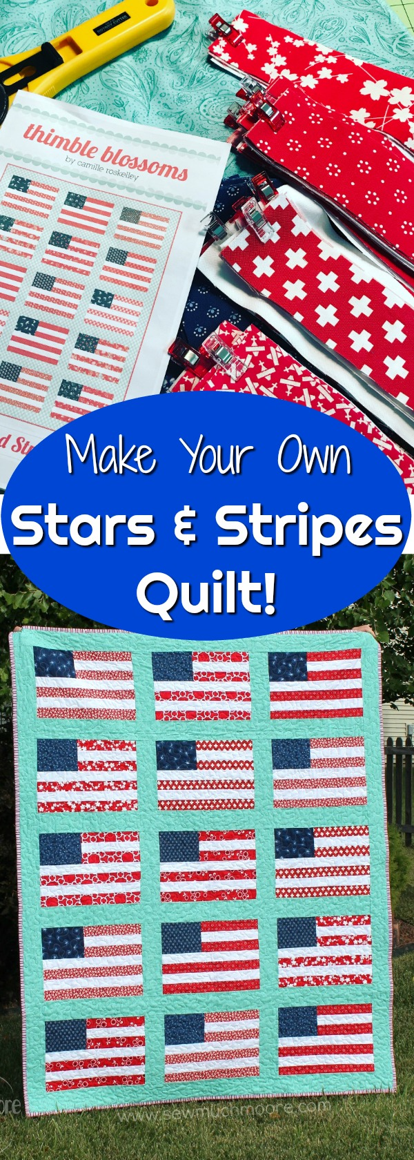 Stars and Stripes Quilt Pinterest Pin 1