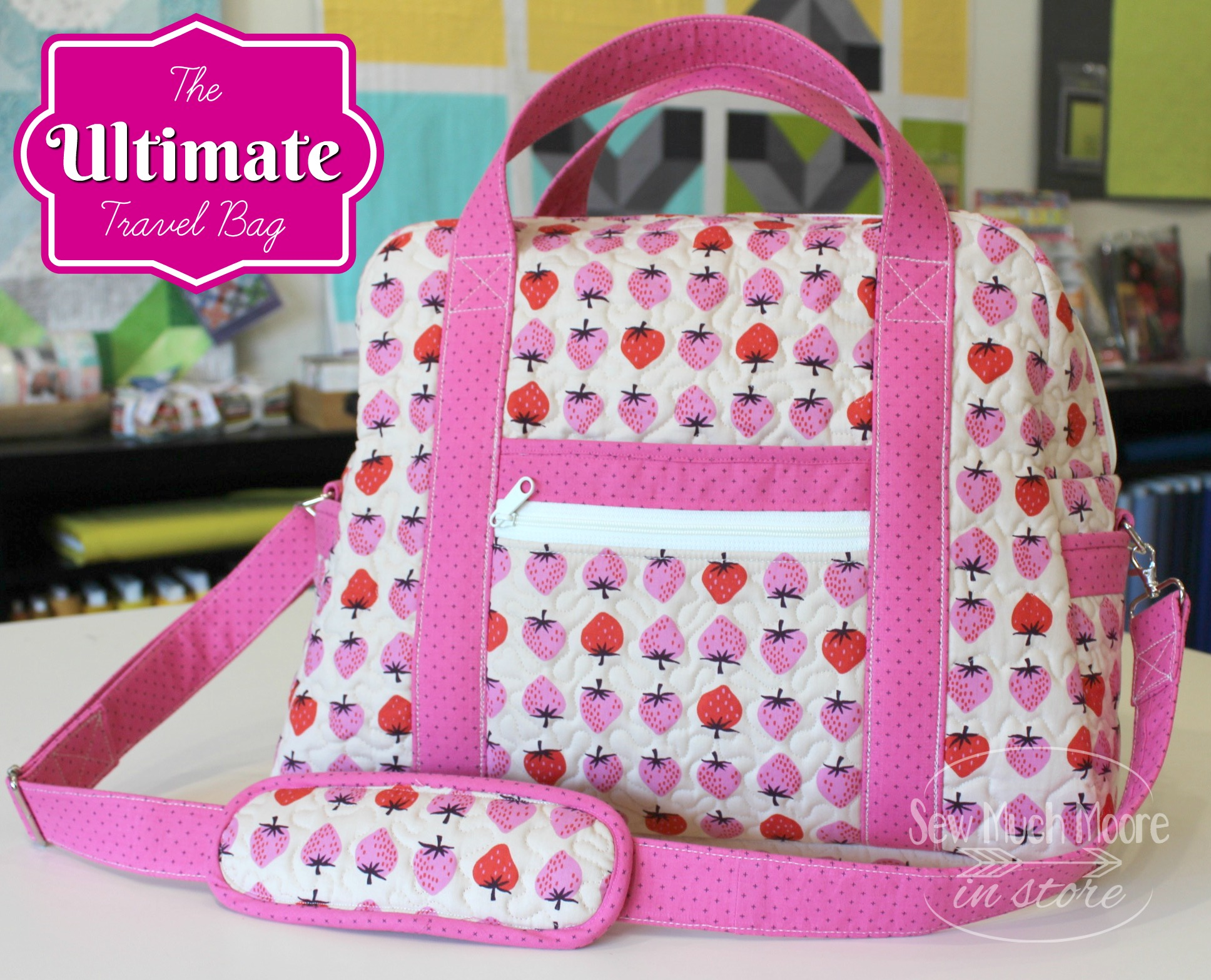 Let me tell you all about it how to make your own Ultimate Travel Bag! Grab your pattern and watch the video. Let's get sewing! #sewing #UltimateTravelBag #ByAnnie #SewingPattern #VideoTutorial #Sew #HowToMake #Bag #StepByStep #SpringBreak #SummerVacation #Zippers #Makeup #Handmade #Travel #SewMuchMoore #SewMuchMooreInStore