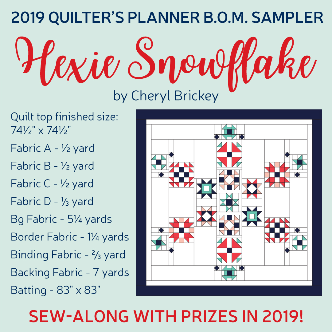 2019 Quilters Planner Sampler Block of the Month BOM