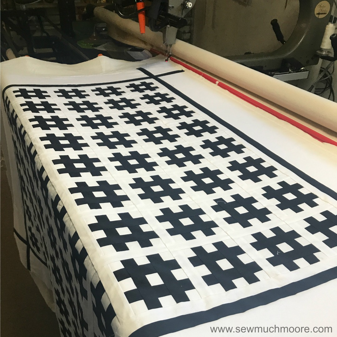Hashtag Graduation Quilt - Make this fun and modern quilt! Watch the video and use the tutorial and make your own! #DIY #Quilt #ModernQuilting #HashtagQuiltBlock #HastagQuilt #StripologyRuler #ContemporaryQuilt #FreeMotionQuilting #LongArmQuilting #Gammill