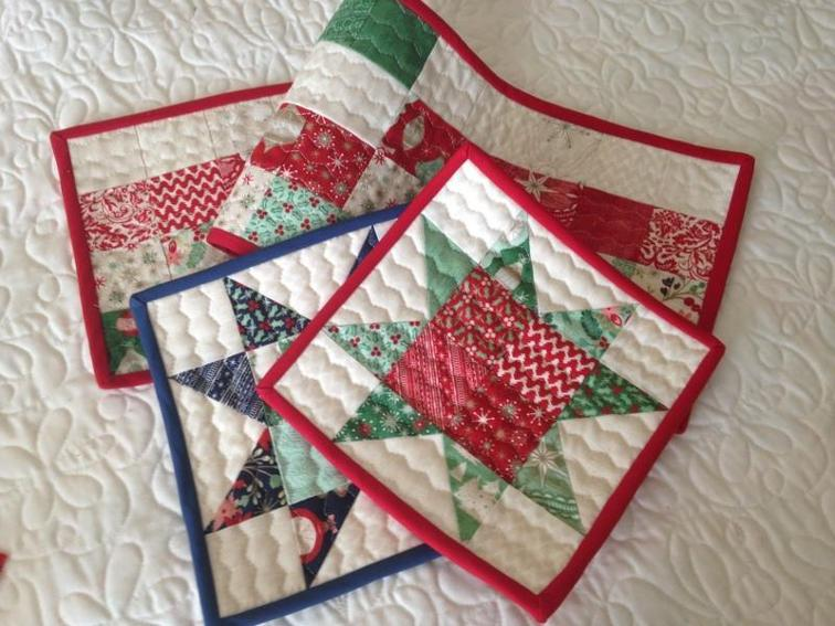 "Christmas Hot Pads and Table Runner - Check out this collection of fun and exciting patterns! Get started on your own Handmade Christmas! #Pattern #Printables #Quilts #Pillows #Easy #Templates #ForBeginners #Beginner #Art #Design #ArtDesign #Block #ChristmasQuilt #ForBeginners #quilt #Quilts #Quilting #ideas #modern #ToMake #Simple #Blocks #Tutorial #quilting #sewing #handmade #Project #Patchwork #Contemporary #WalkingFoot #DIY #Fabric #Bedding #OfTheMonth #12"" #Vintage #Modern #Star #Scrappy #Free #Quick #project #DIY #Sampler #Ideas #Basic #HST #12Inch #StepByStep #QuiltBlock #BOM #SewMuchMoore #SewMuchMooreInStore"
