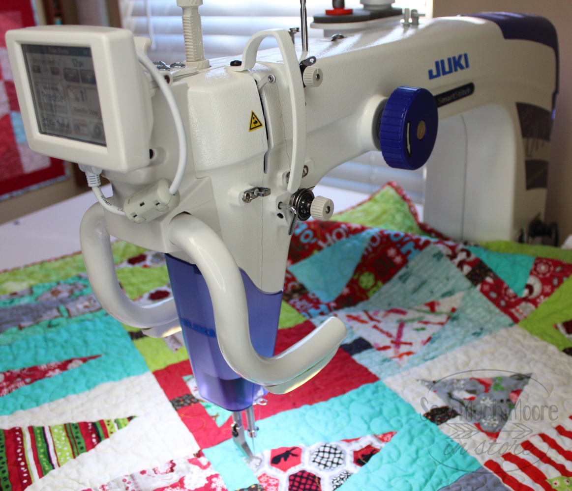 Modern Christmas Tree Quilt - Used my Juki Mikyabi Long Arm Quilting Machine to finish my Quilt! #Christmas #ForBeginners #easy #quilt #Quilts #Quilting #ideas #modern#ToMake #Designs #Simple #Blocks #Tutorial #quilting #sewing #handmade #Project #Patchwork #Contemporary #WalkingFoot #DIY #Fabric #Bedding #Hip #Trendy #SewMuchMoore #SewMuchMooreInStore