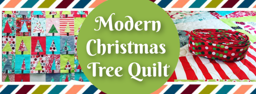 Modern Christmas Tree Quilt WP Blog Header Template