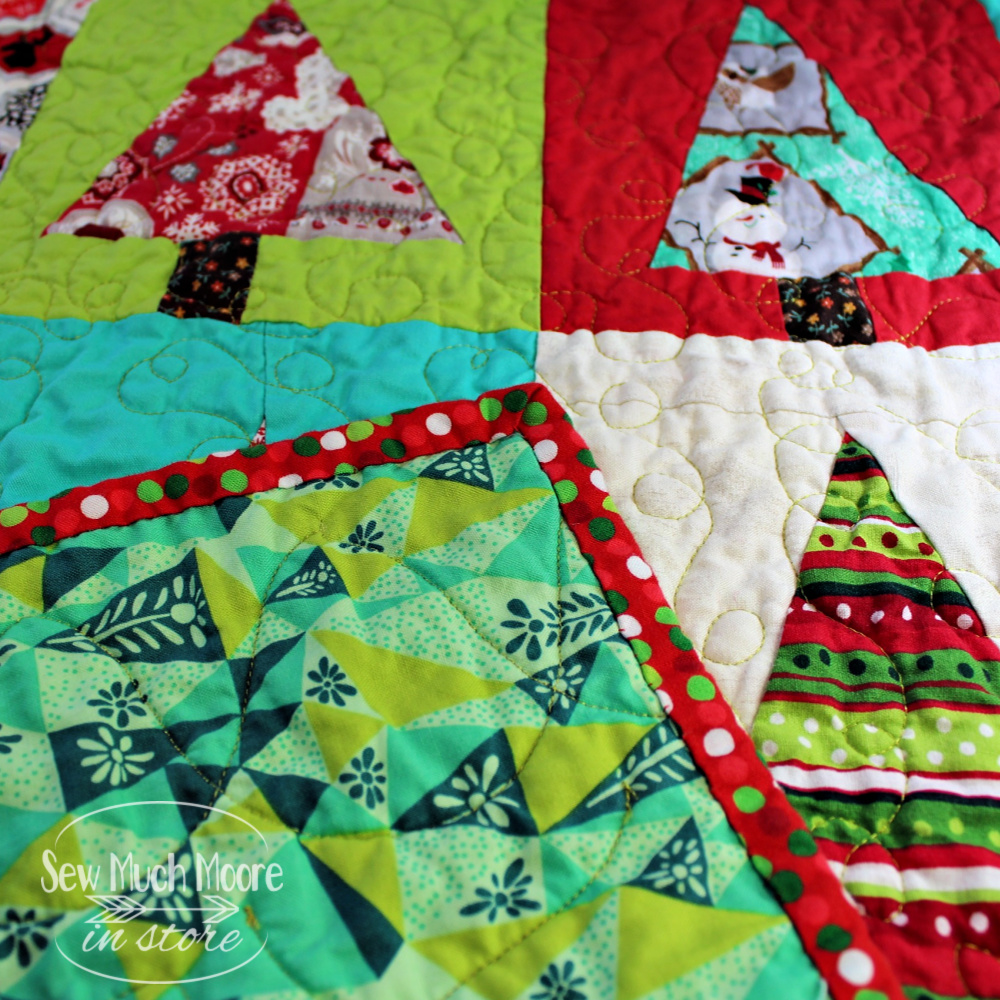 Modern Christmas Tree Quilt binding and backing