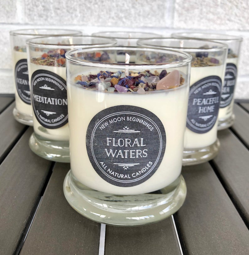 Handmade Mother's Day - Crystals & Herb Energy Soy Candles