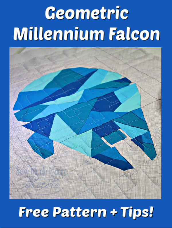 What's not to love about this modern geometric pattern? Let me tell you all about my Millennium Falcon Mini Quilt! You are going to love it! #Tutorial #Free #Pattern #Printables #Quilts #Pillows #Easy #Templates #Star #ForBeginners #Beginner #Art #Design #ArtDesign #Block #Hip #StarWars #MillenniumFalcon #MayTheFourthBeWithYou MayThe4thBeWithYou #Trendy #SewMuchMoore #SewMuchMooreInStore