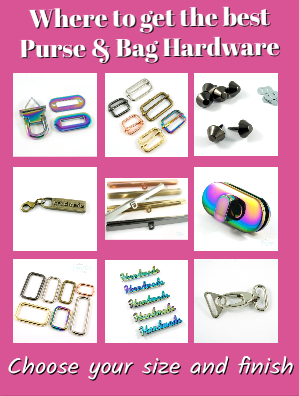 Get all your Purse & Bag Hardware right here! Lots of finishes and sizes to choose from! #handmadebags #PurseHardware #BagHardware #DIY #SewMuchMooreInStore #SewMuchMoore