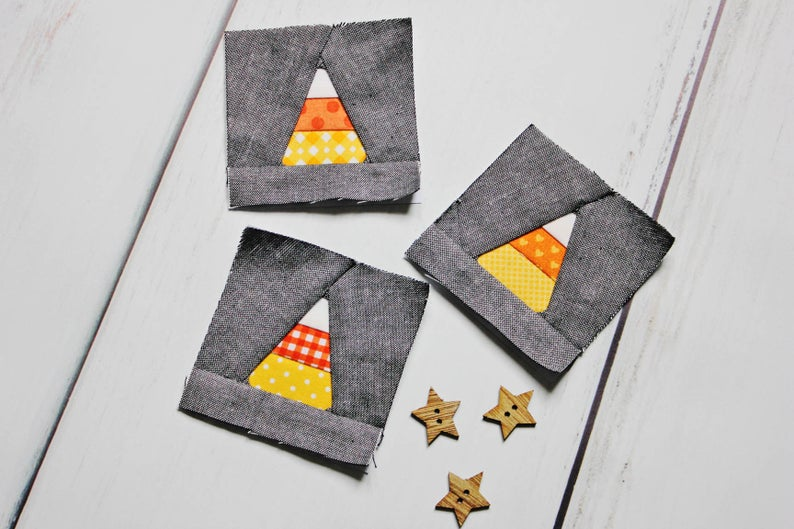 The Candy Corn quilt block pattern is a beginning FPP pattern that assumes a basic knowledge of paper piecing.