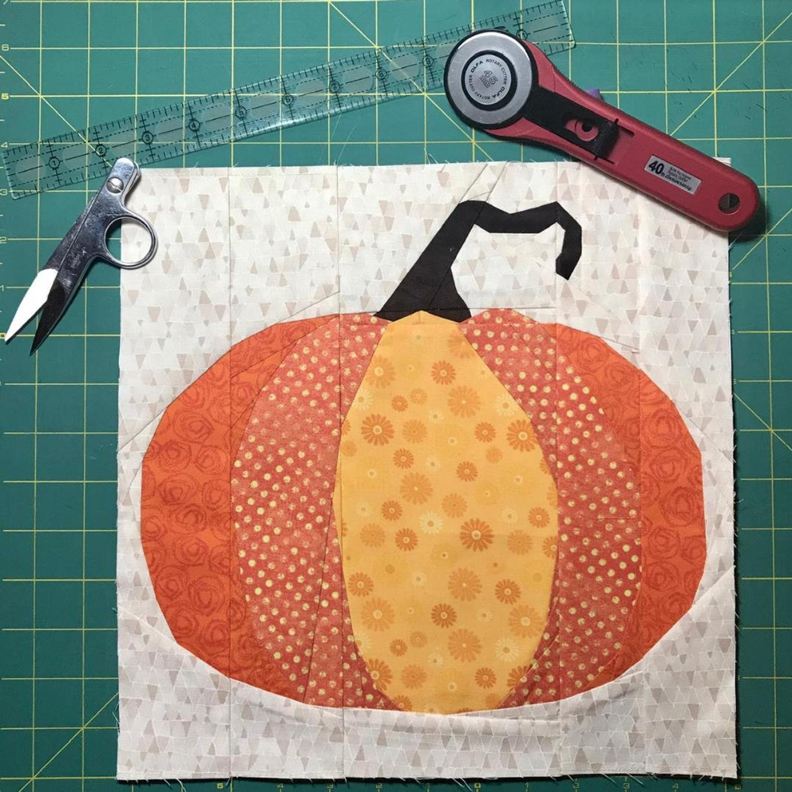 This is a cute pumpkin paper pieced quilt pattern. This block comes together in 10 sections, and finishes to either 12x12 or 20x20 inches. Patterns By Shaley
