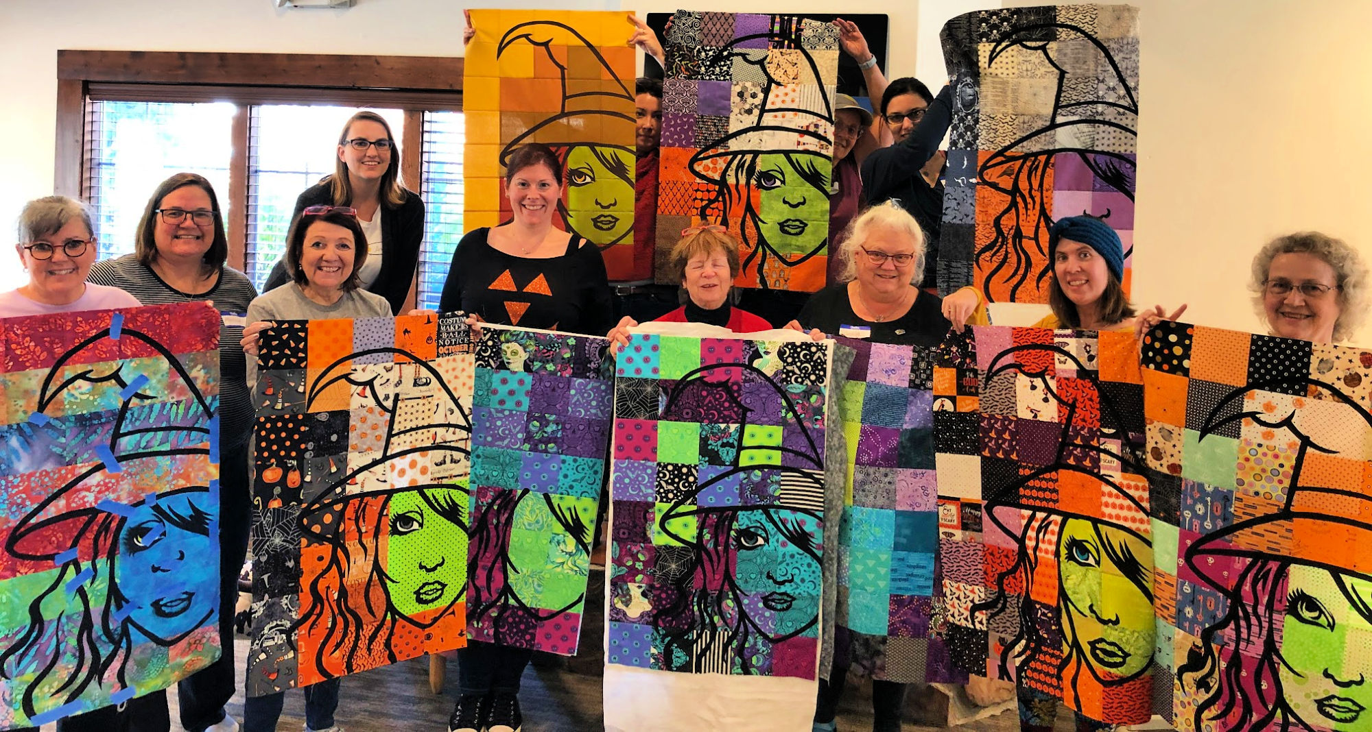 The entire class enjoyed the workshop! These are made from FABRIC!! Let me show some of the details and also some inspiration so you might want to make a Bella Strega Wall Quilt too! #Easy #Patterns #Tutorial #Modern #project #Fabric #Patchwork #DIY #Sampler #Ideas #Basic #Quilt #WallHanging #Quilting #Quilter #SewMuchMoore #SewMuchMooreInStore