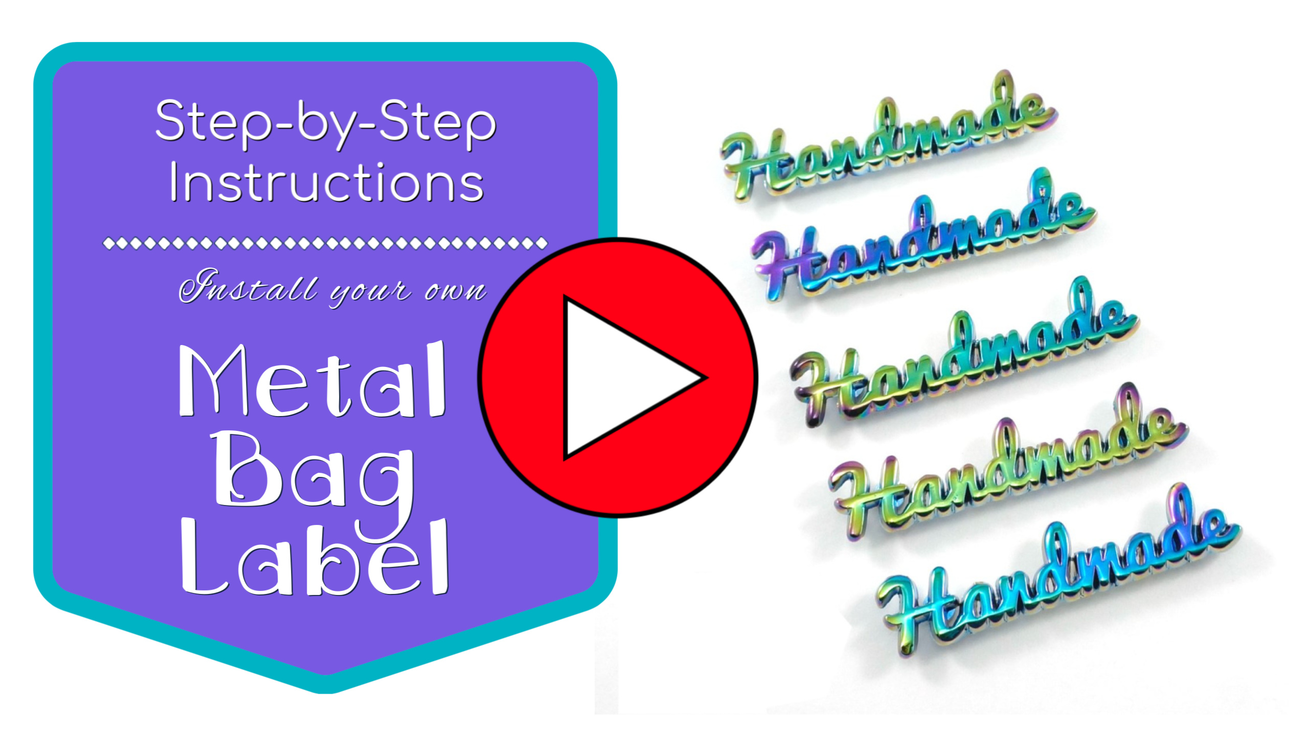 Metal Bag Labels are some of the easiest additions to install into your Handmade Bag, Tote or Purse! Let me show you how to install Metal Bag Labels and you can start adding these to your handmade goodies too! #Sewing #DIY #MetalBagLabels #VideoTutorial #Totes #Bag #Handmade #Designer #Custom #BagHardware #Purses #SewMuchMoore #SewMuchMooreInStore