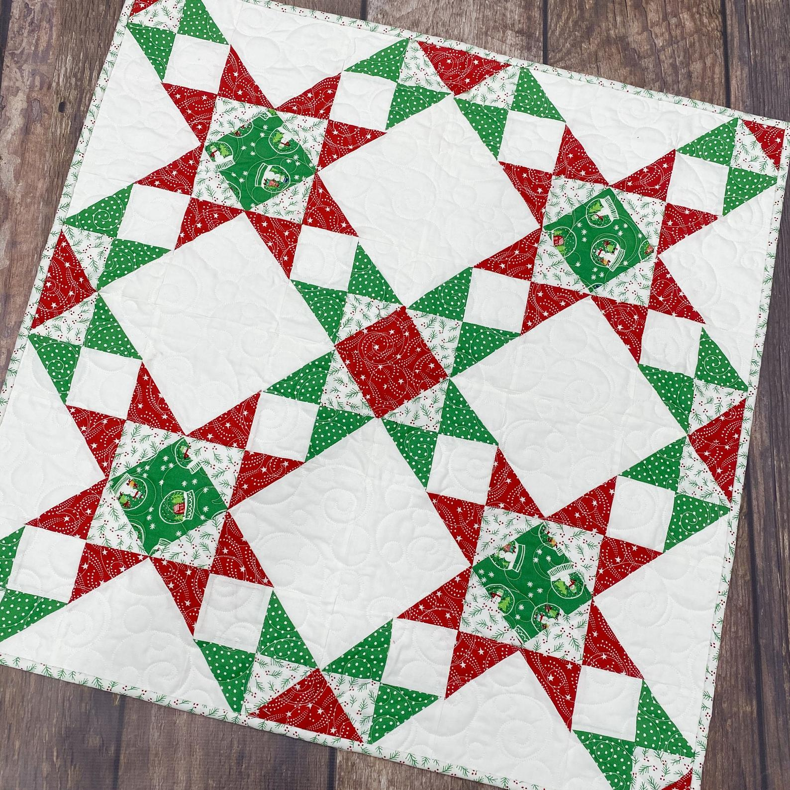Start Crossed Christmas Table Topper is the perfect pattern to dress up your Holiday table!
