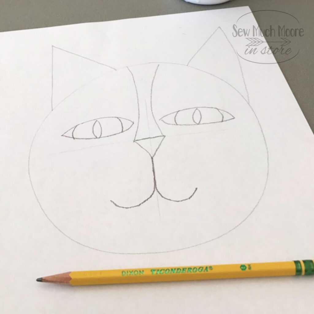 Line Drawing for Cat Faces Quilt.  This is the first step in the design process for the Cat Faces Quilt.  See how the finished quilt turns out!  #CatFacesQuilt #RawEdgeApplique #ModernQuilts #SewMuchMoore