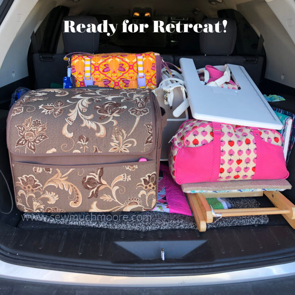 The car is packed and I am ready for Quilt Retreat!  Take a look at the travel lamp I am bringing!