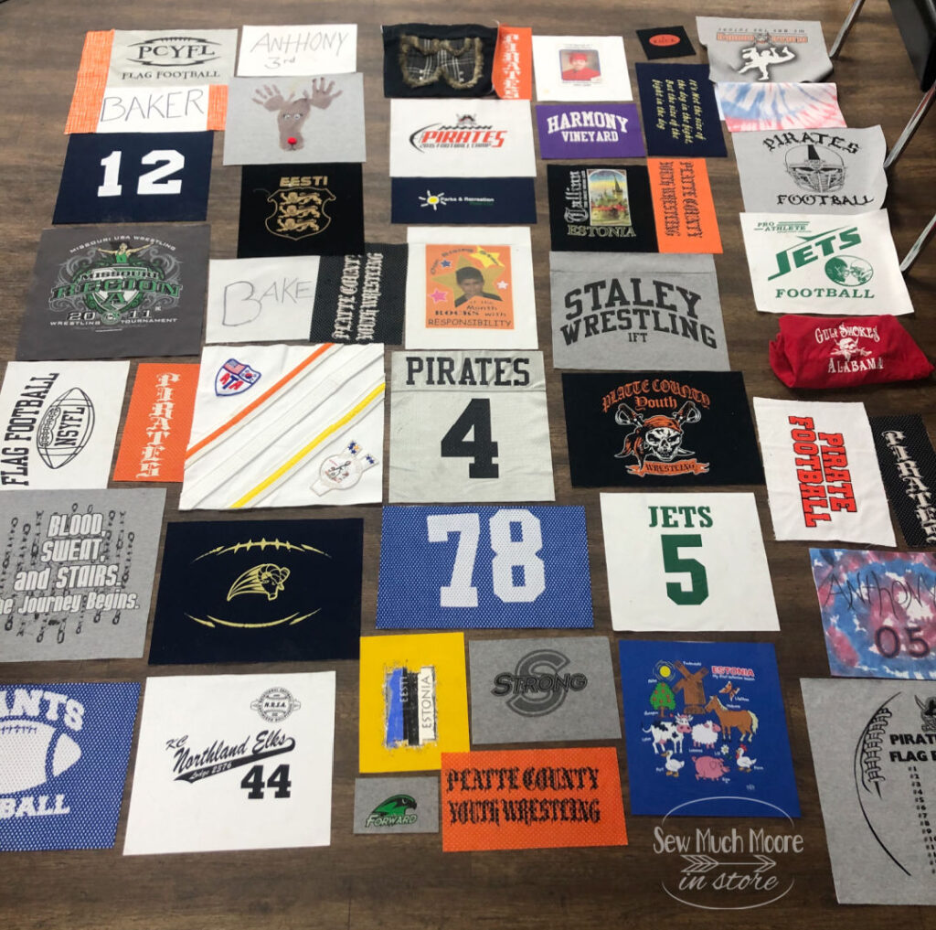 Gather your T-shirts to make a T-shirt Quilt